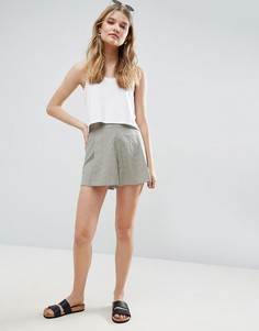 Льняная юбка-шорты плиссе ASOS - Мульти