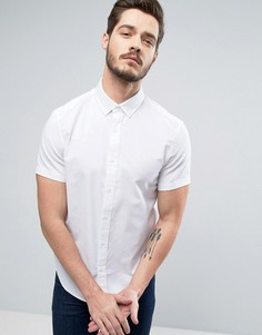 Белая оксфордская рубашка слим с короткими рукавами Original Penguin - Белый