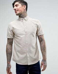 Бежевая оксфордская рубашка слим с короткими рукавами Farah Brewer - Бежевый