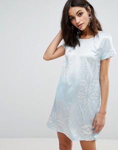 Цельнокройное платье с короткими рукавами Traffic People - Мульти