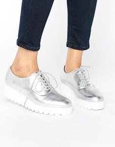 Туфли металлик на плоской платформе London Rebel - Серебряный