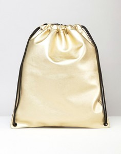 Золотистый рюкзак на шнурке ASOS - Золотой