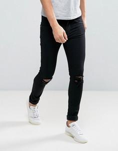 Черные джинсы с дырками на коленях Dr Denim Leroy - Черный