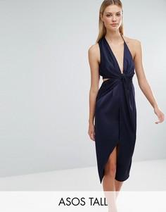 Платье миди на бретелях с перекрученной отделкой ASOS TALL - Темно-синий