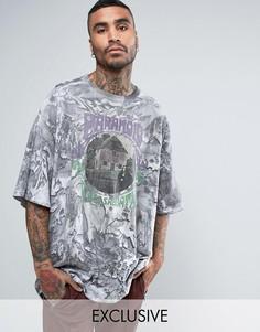 Свободная футболка с принтом Reclaimed Vintage Inspired - Серый