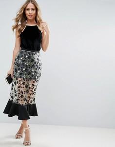 Прямая юбка миди с цветочной вышивкой ASOS - Мульти
