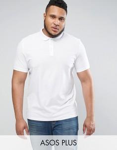 Белая футболка поло из пике ASOS PLUS - Белый