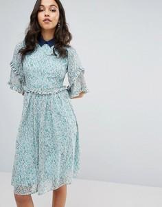 Платье с оборками и контрастным воротником Lost Ink - Зеленый