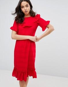 Платье с оборками Lost Ink - Красный