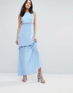 Платье макси с завязками Lost Ink - Синий