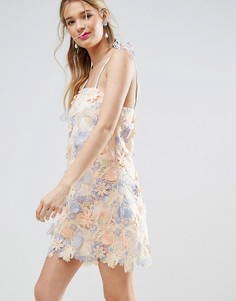 Платье мини с лазерной отделкой ASOS SALON 3D - Мульти