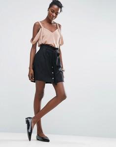 Льняная мини-юбка на пуговицах ASOS - Черный