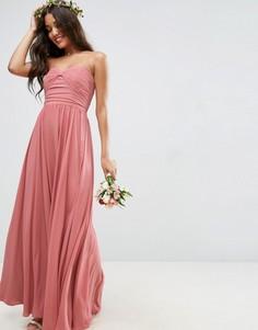 Платье макси с открытыми плечами и бантом на груди ASOS WEDDING - Бежевый