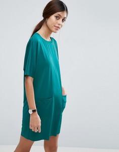 Платье-футболка с карманами ASOS - Зеленый