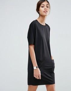 Платье-футболка с карманами ASOS - Черный
