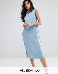 Джинсовое цельнокройное платье миди из ткани шамбре Noisy May Tall - Синий