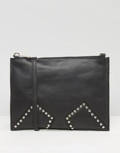 Черная кожаная сумка через плечо с заклепками на вставках Urbancode - Черный