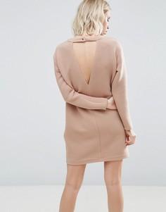 Трикотажное платье в рубчик ASOS - Бежевый
