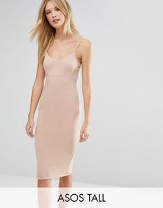 Облегающее платье миди на бретельках ASOS TALL - Розовый