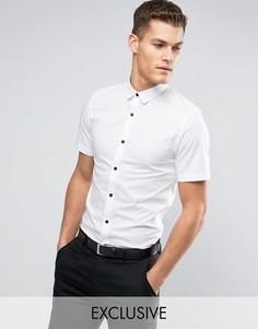 Приталенная рубашка с короткими рукавами и черными пуговицами Only & Sons - Белый