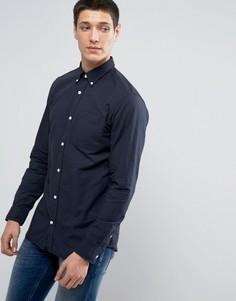 Узкая оксфордская рубашка премиум-класса Jack & Jones - Темно-синий