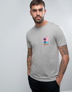 Меланжевая футболка с принтом волны Hoxton на нагрудном кармане Hoxton Denim - Фиолетовый