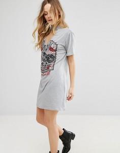 Платье-футболка с чокером и принтом Parisian - Серый