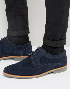Темно-синие замшевые броги Silver Street Lombard - Синий