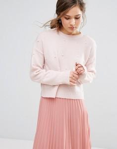 Джемпер с искусственным жемчугом New Look - Розовый