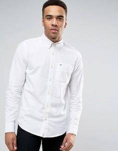 Белая эластичная поплиновая рубашка узкого кроя Hollister - Белый