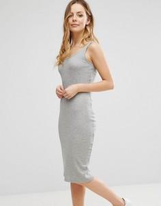 Платье миди в рубчик без рукавов Brave Soul - Серый