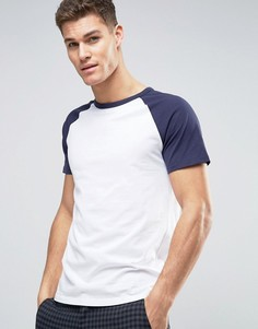 Темно-синяя бейсбольная футболка Burton Menswear - Белый