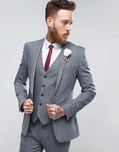 Синий суперузкий пиджак с шевронным узором из смешанной шерсти ASOS WEDDING - Синий