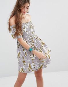 Платье с открытыми плечами Free People Louse - Кремовый