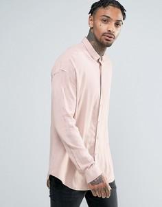 Розовая oversize-рубашка из вискозы ASOS - Розовый