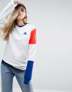 Свитшот бойфренда с трехцветным рукавом Le Coq Sportif - Белый