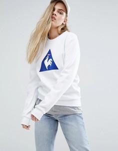 Свитшот бойфренда с большим логотипом в стиле колор блок Le Coq Sportif - Белый