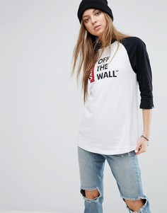 Oversize-футболка с рукавами реглан Vans Off The Wall - Белый