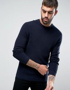 Джемпер из смеси хлопка и шерсти с рукавами реглан United Colors of Benetton - Темно-синий