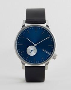 Часы с черным кожаным ремешком и синим циферблатом Komono Winston Subs - Черный
