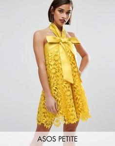 Кружевное платье-трапеция мини с бантом ASOS PETITE SALON - Желтый