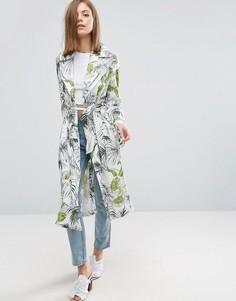Мягкое пальто с тропическим пальмовым принтом ASOS - Мульти