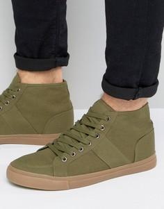 Парусиновые кеды хаки на шнуровке с резиновой подошвой ASOS - Зеленый
