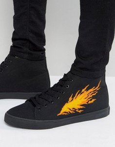 Черные кеды на шнуровке с вышивкой ASOS - Черный