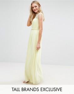 Плиссированное платье макси с кружевным верхом Little Mistress Tall - Желтый