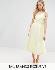 Приталенное декорированное платье миди на одно плечо для выпускного Little Mistress Tall - Желтый