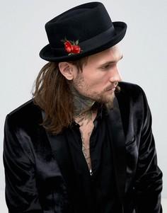 Черная шляпа с вышивкой ASOS - Черный