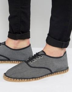 Черные эспадрильи из ткани шамбре в стиле оксфордских туфель ASOS - Черный