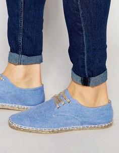 Голубые туфли дерби из шамбре ASOS - Синий