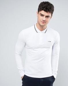 Белый лонгслив-поло узкого кроя из пике с контрастной отделкой Armani Jeans - Белый